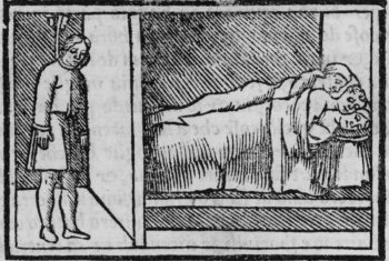 hanging man and three people in bed